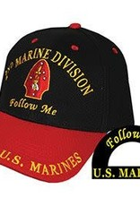 "MidMil 2nd Marine Division Hat with emblem and ""Follow Me"" Black"