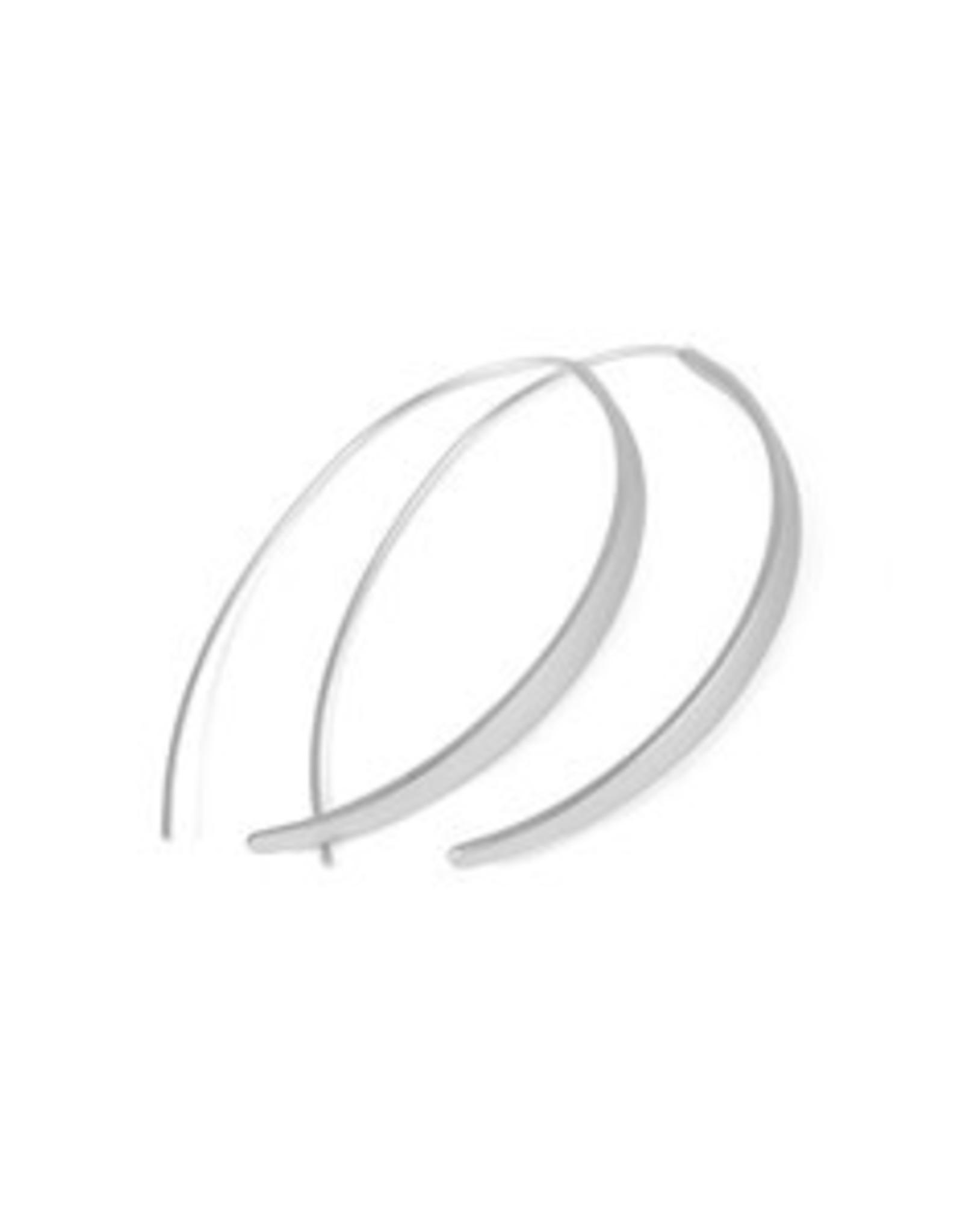 Matte Silver Curve Brass Open Hoop Earrings