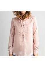 Blush Silky Lace-up Blouse