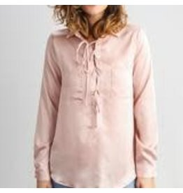 Blush Silky Lace-up Blouse