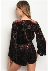Black Velvet Flower Print Romper