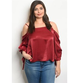 3/4 Sleeve Cold Shoulder Blouse