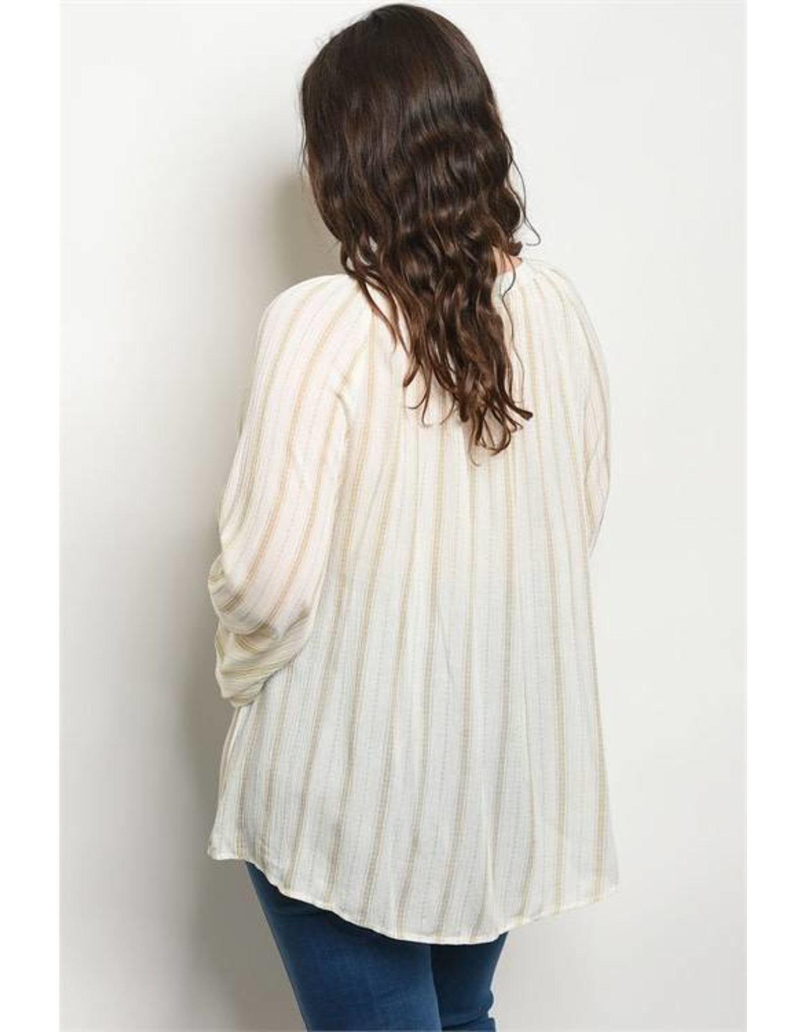 Long Sleeve Striped Tunic Blouse