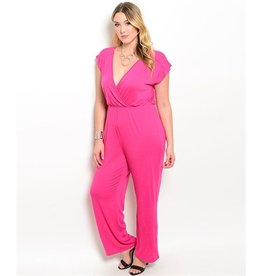 V-Neck Short Sleeve Jumpsuit