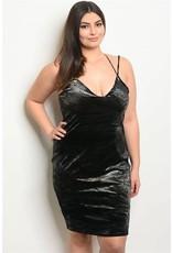 V-Neck Velvet Bodycon Dress