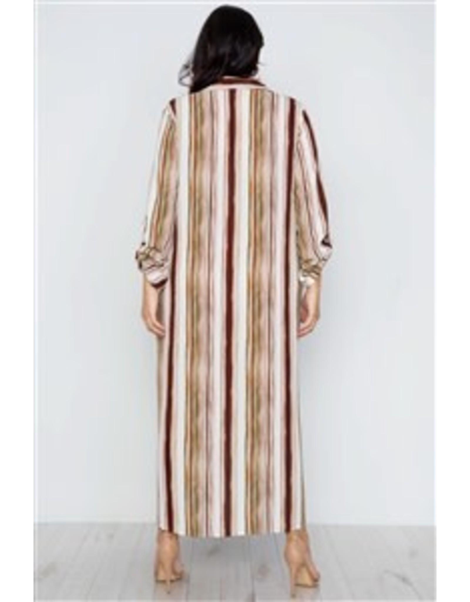 Brown Stripe Long Sleeve Maxi Dress