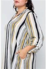 Mustard Stripe Long Sleeve Maxi Blouse