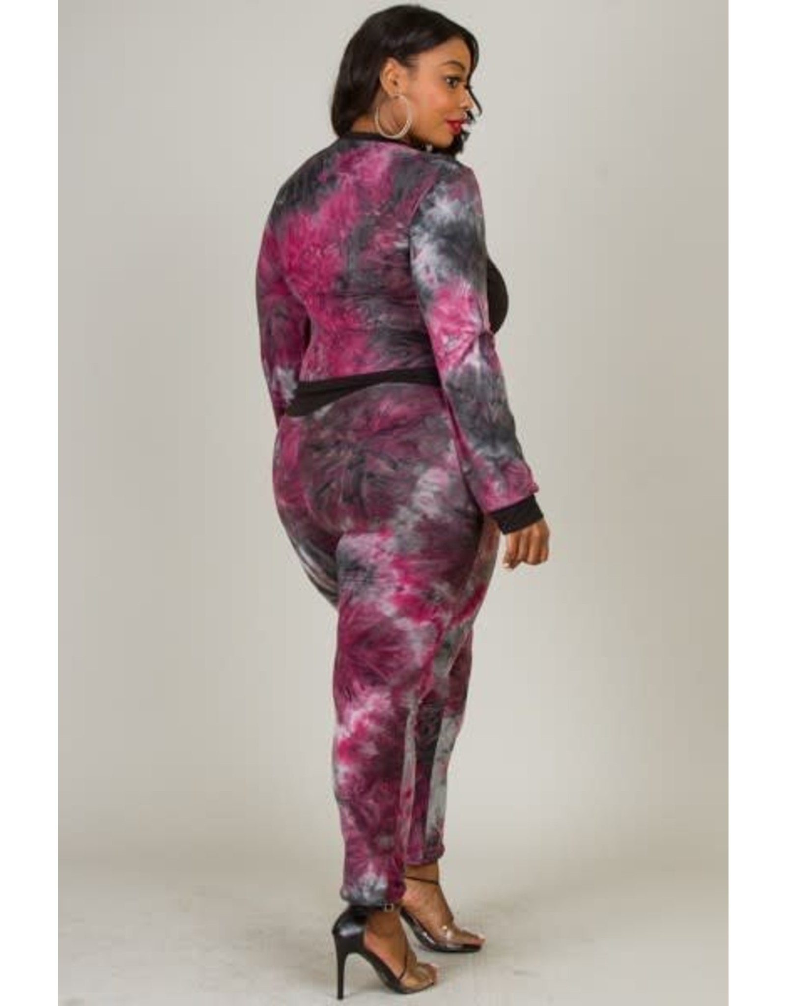 Tie Dye Set Of Zip-Up Jacket And Fitted Pants