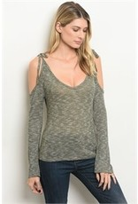 Cold Shoulder V-Neck Sweater