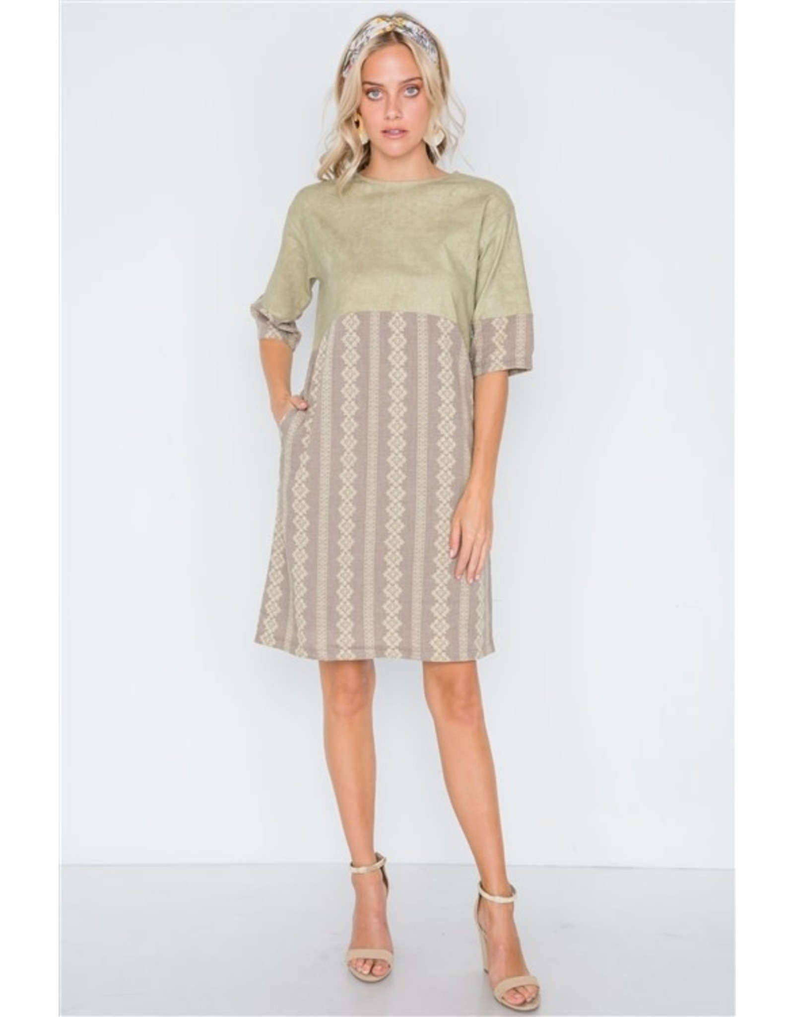 Mocha Olive Contrast Shift Boho Dress