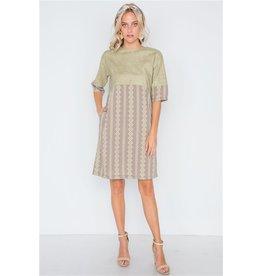 Mocha Olive Contrast Shift Boho Dress