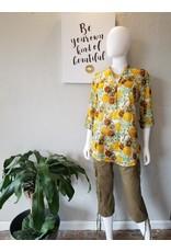 Boho Floral Roll-up Sleeve Semi-Sheer
