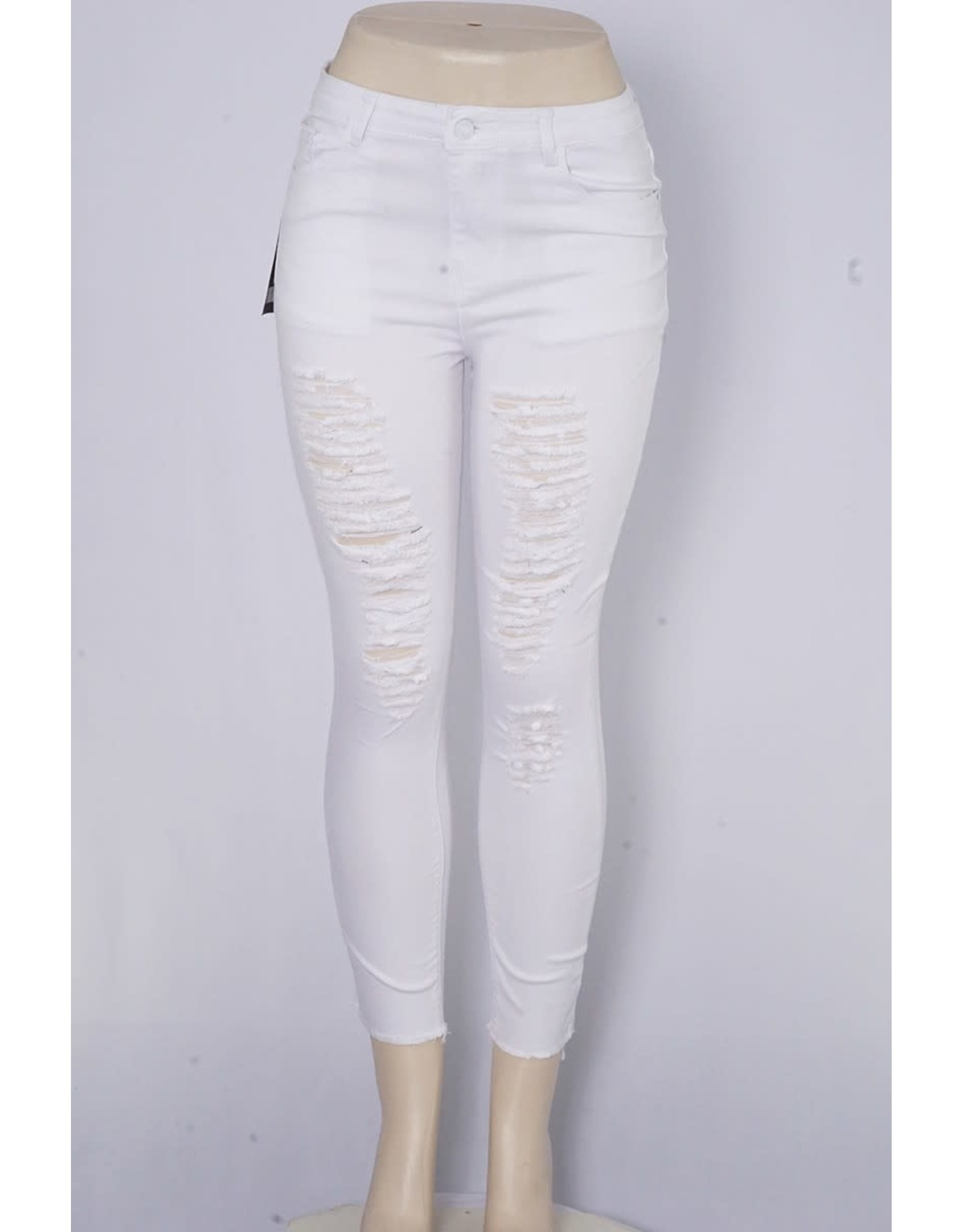 White Anklet Distressed Skinny Jeans