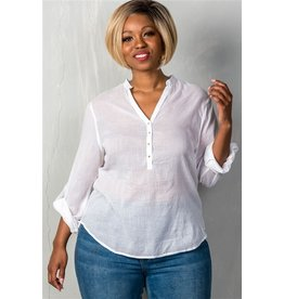 White Roll Sleeve V Neck