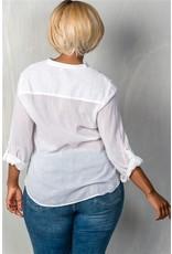 White Roll Sleeve V Neck