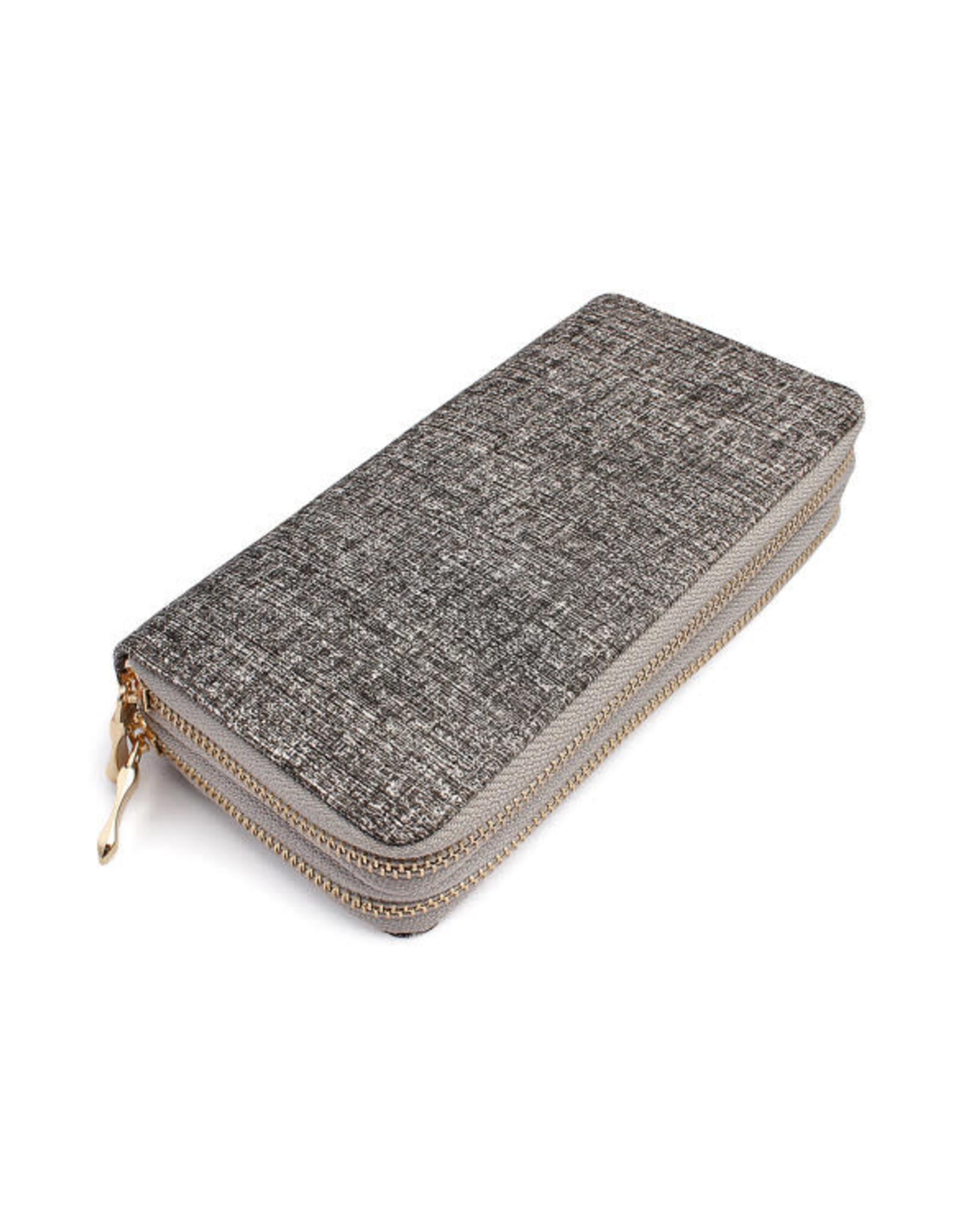 Grey Double Zipper Wallet