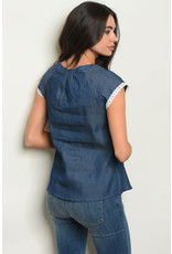 Blue Denim Top with White Lace Trim