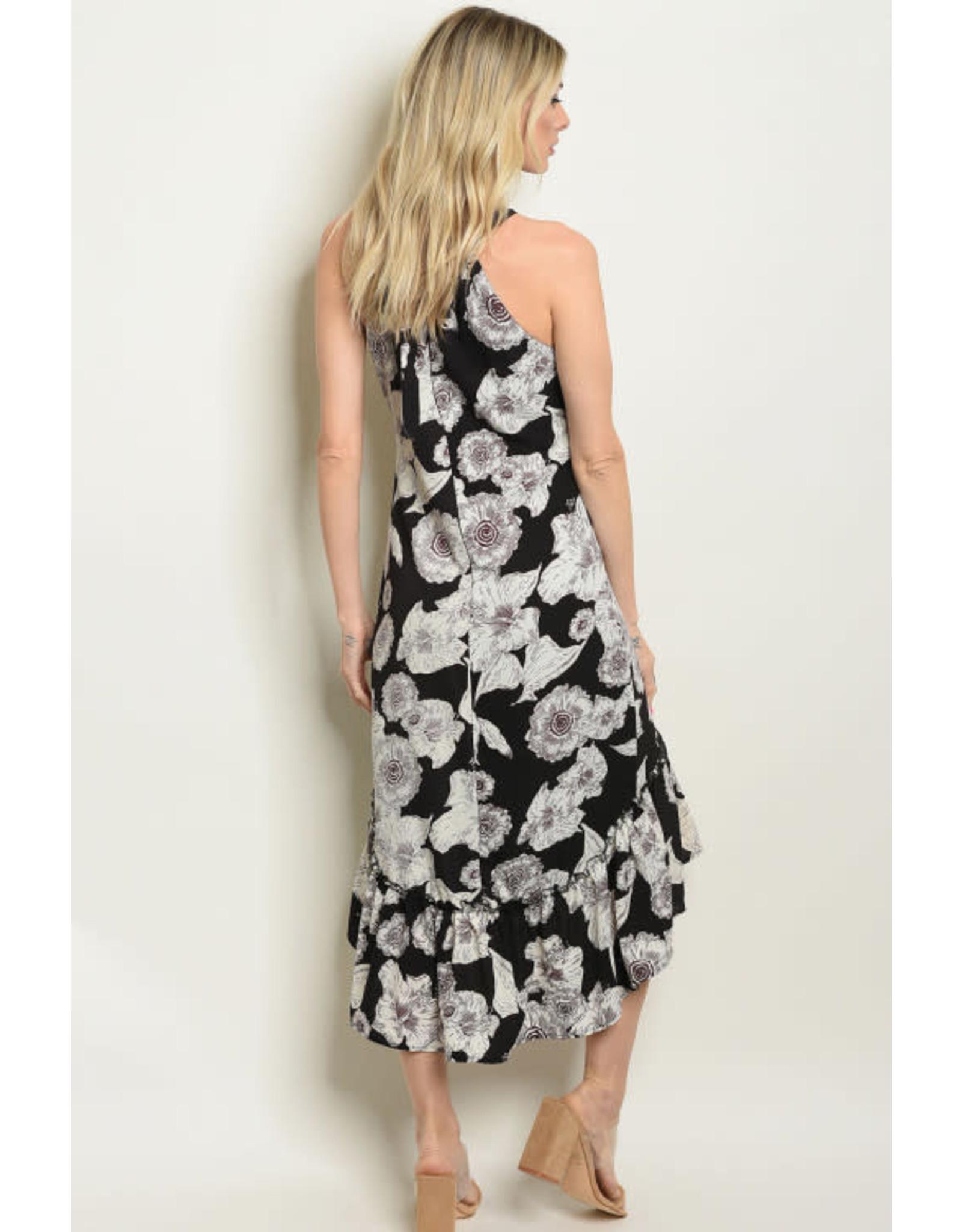 Black Floral Halter Sundress