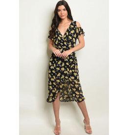 Short Sleeve Cold Shoulder V-neck Floral Midi Dress