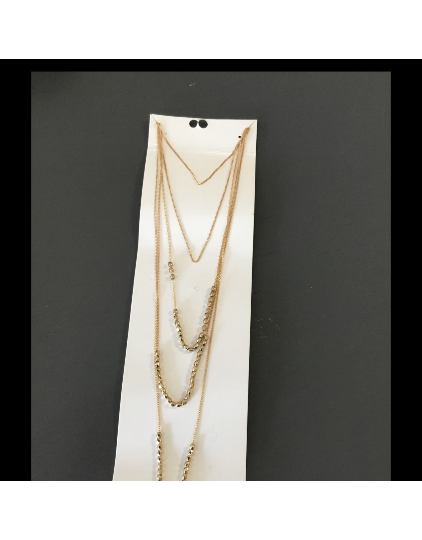 beaded long gold necklace