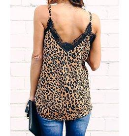 Leopard Print Lace Insert Top