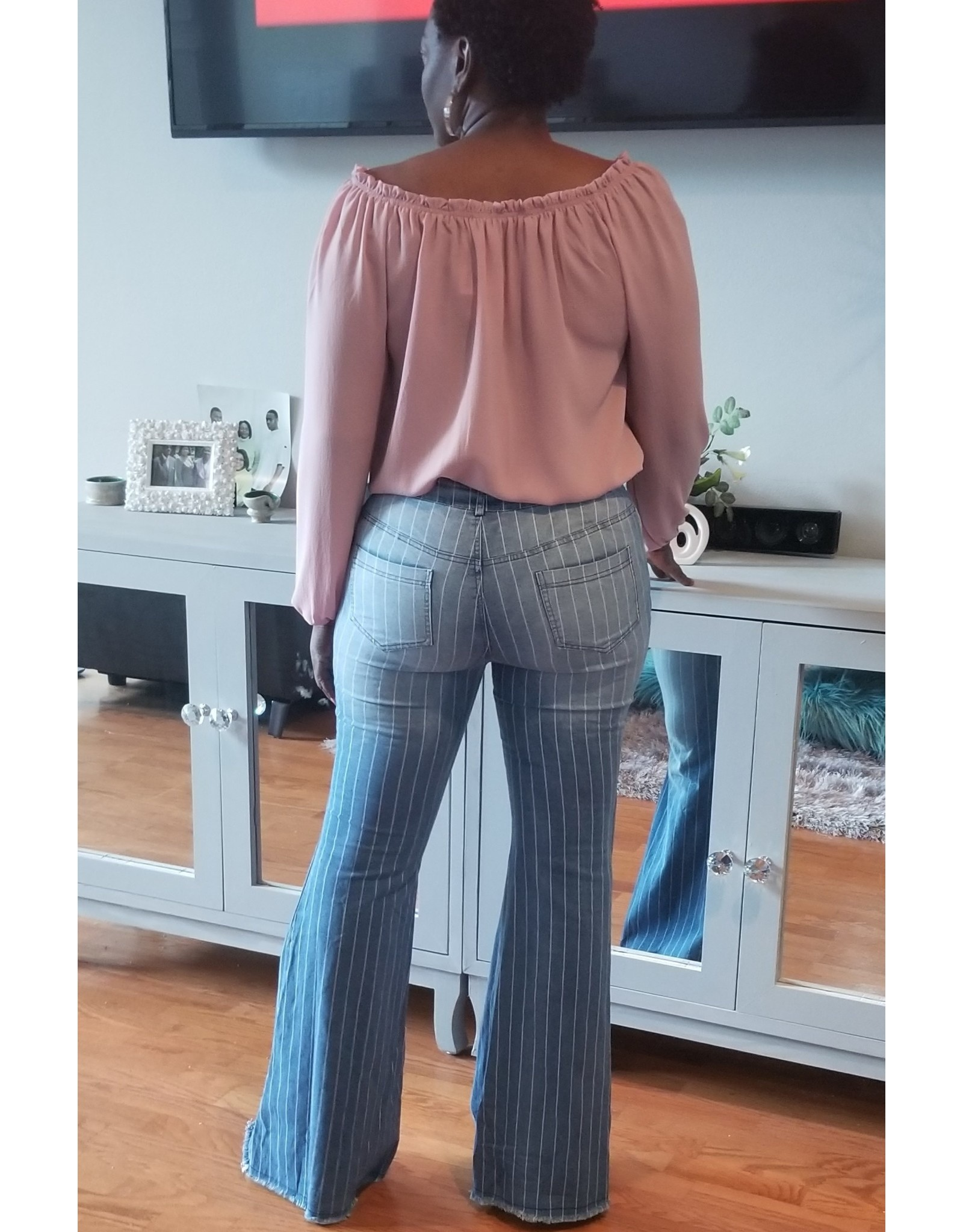Stripe Frayed Hem Flared Jeans