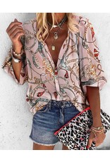 Pink Chain Print Button Shirt