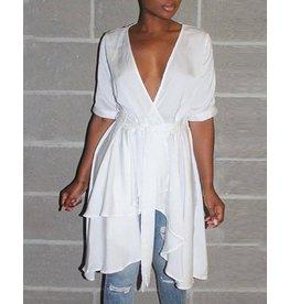 Asymmetrical Ruffles Hem Dress