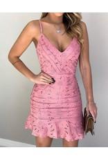 Broderie Lace Spaghetti Strap Ruffles Hem Dress