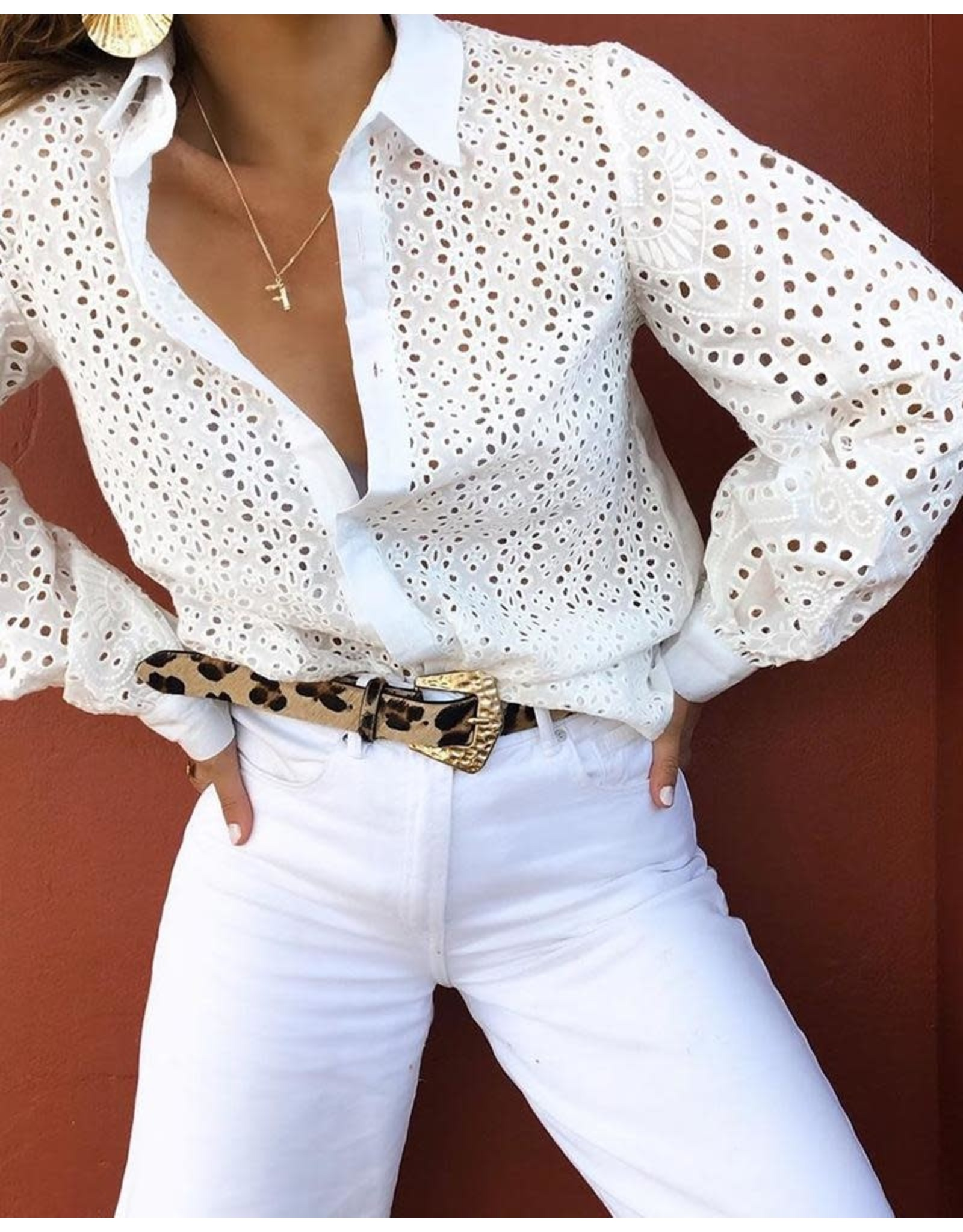 Broderie Lace Lantern Sleeve Shirt