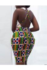 Open Back Ethnic Print Bodycon Dress