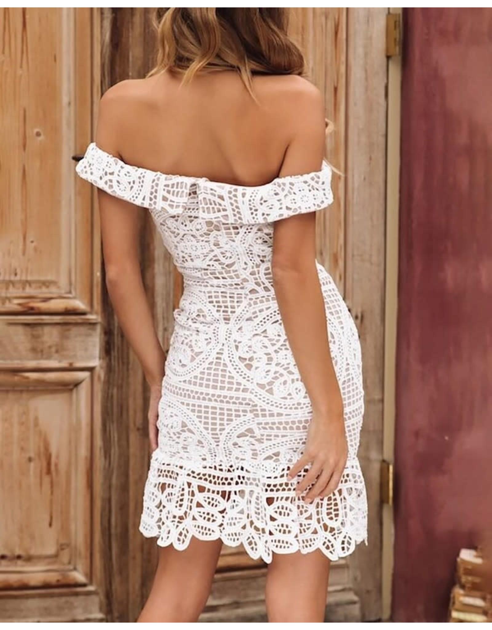 Off the Shoulder Lace Crochet Mini Dress