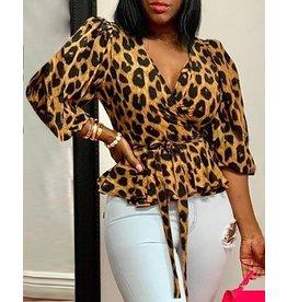 Leopard Tie Waiste Blouse