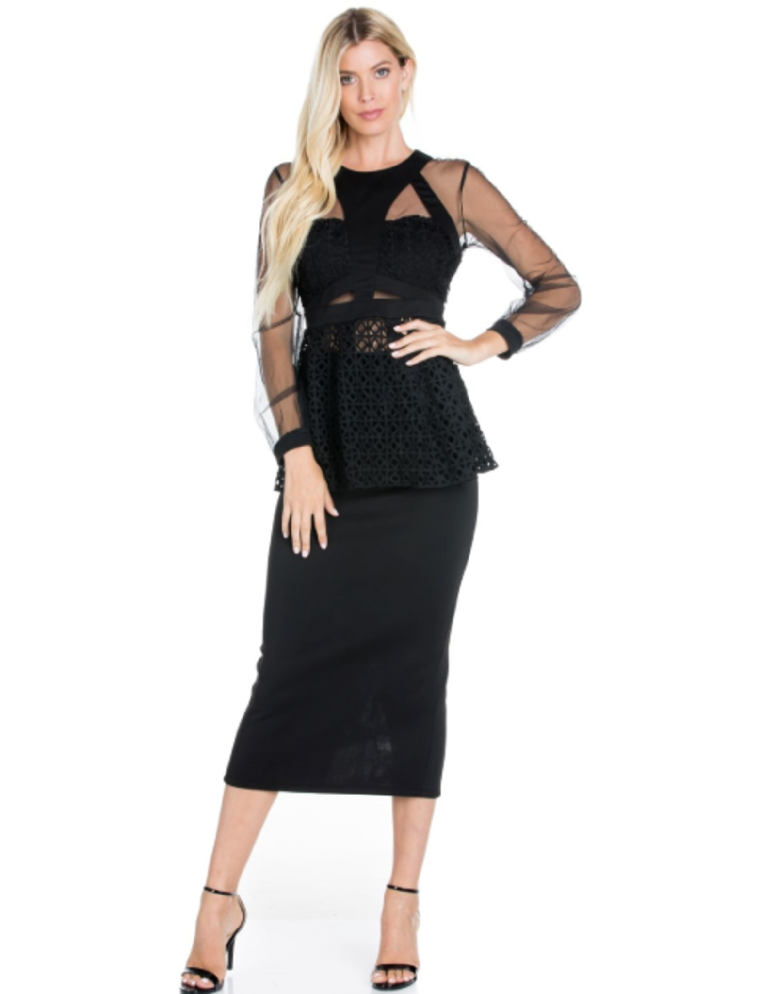 Black Mesh and Crochet Lace Long Sleeves Peplum Top and Skirt