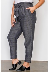 Do+Be PLUS SIZE GREY PLAID PRINT FRILL WAIST BELTED PANTS