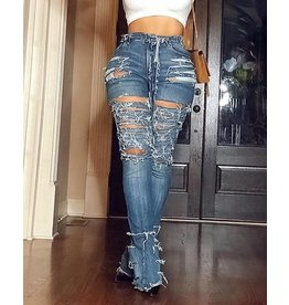 Ladder Cut Out Ripped Bell-bottomed Denim Pants