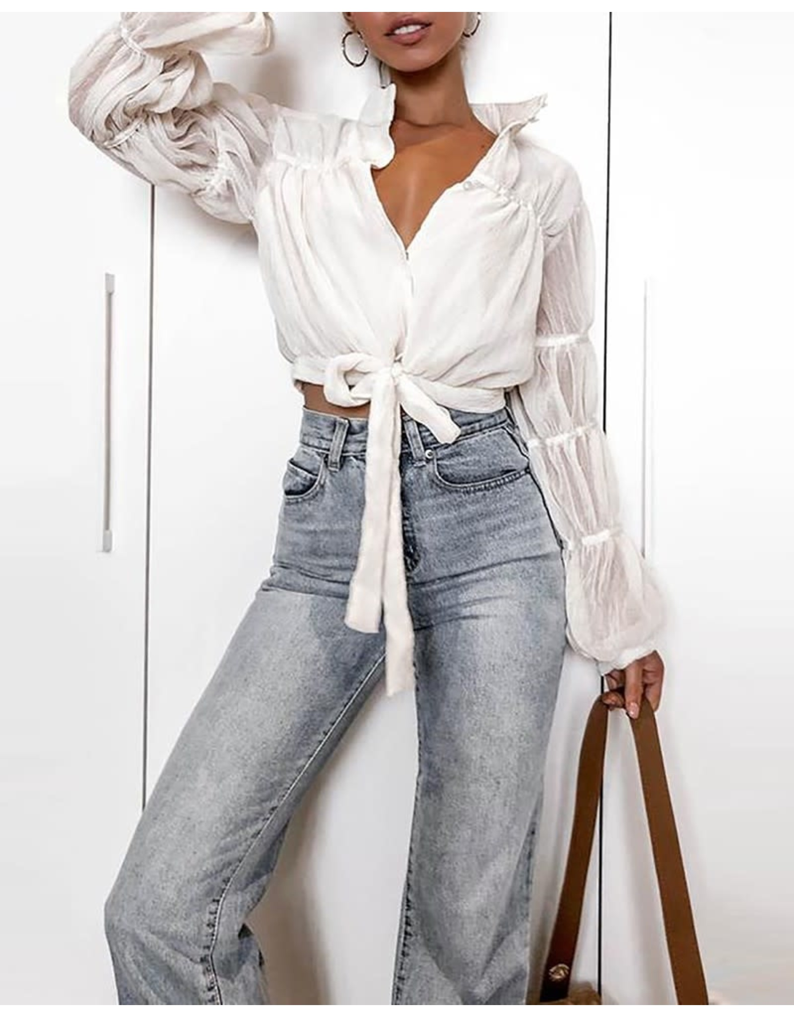 Solid Lantern Sleeve Buttoned Bowknot Blouse