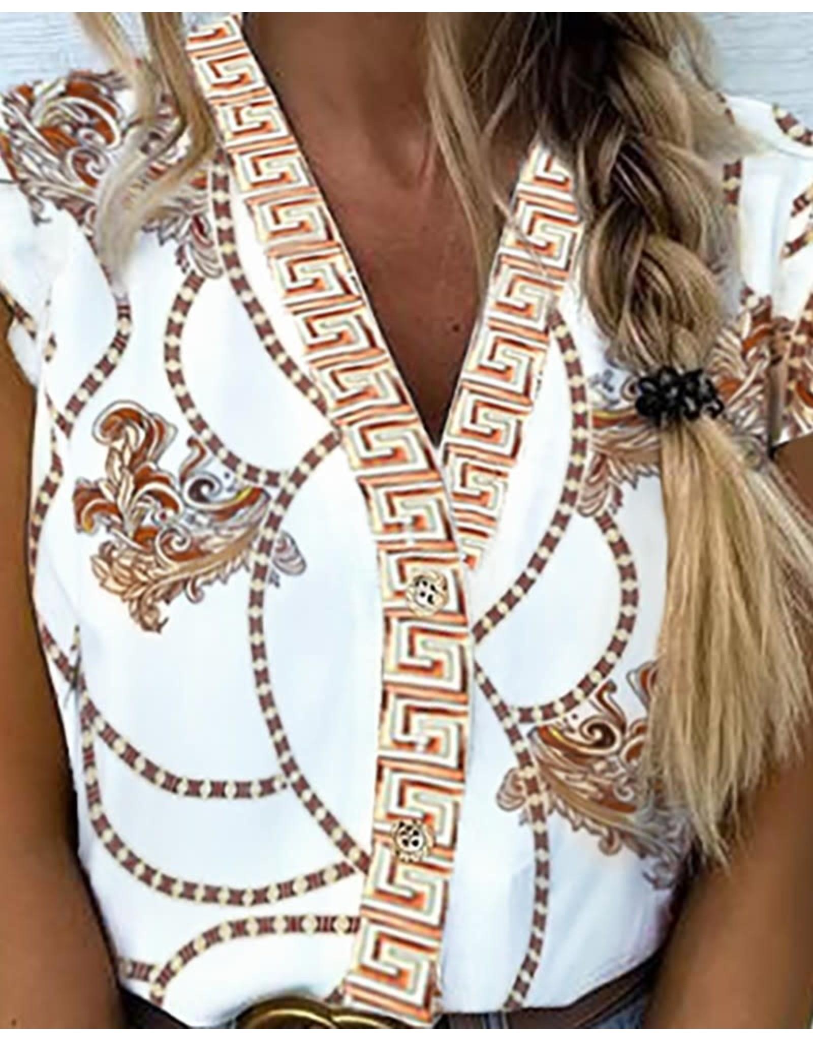 V-Neck Ethnic Print Flutter Sleeve Blouse