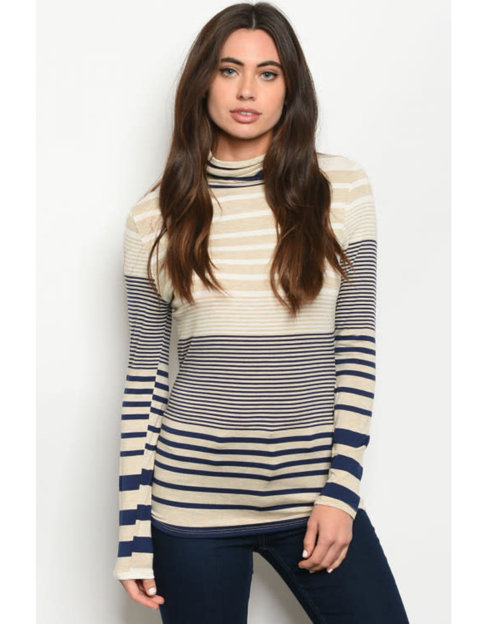 OATMEAL NAVY STRIPES TURTLE NECK TOP