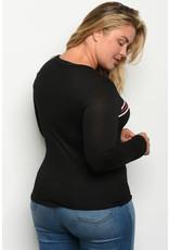 Black long sleeve scoop neck top