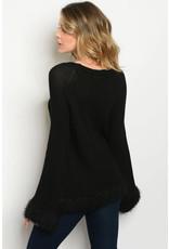 Black Scoop Neck Sweater with Fur Trim