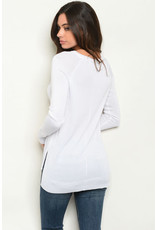 Long Sleeve White Knit Sweater