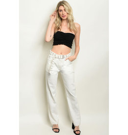 Off White Pants with  Studded Belt