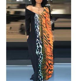 Leopard Colorblock Maxi Dress