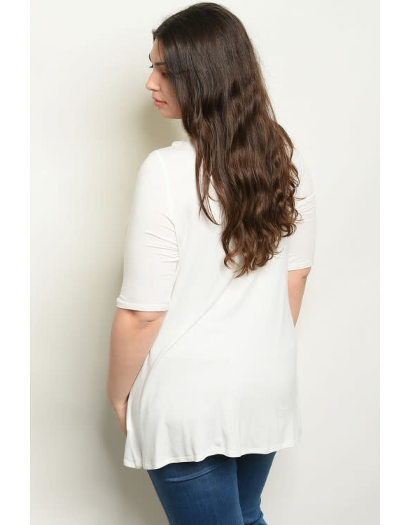 Quarter Sleeve Off-White Tunic Top