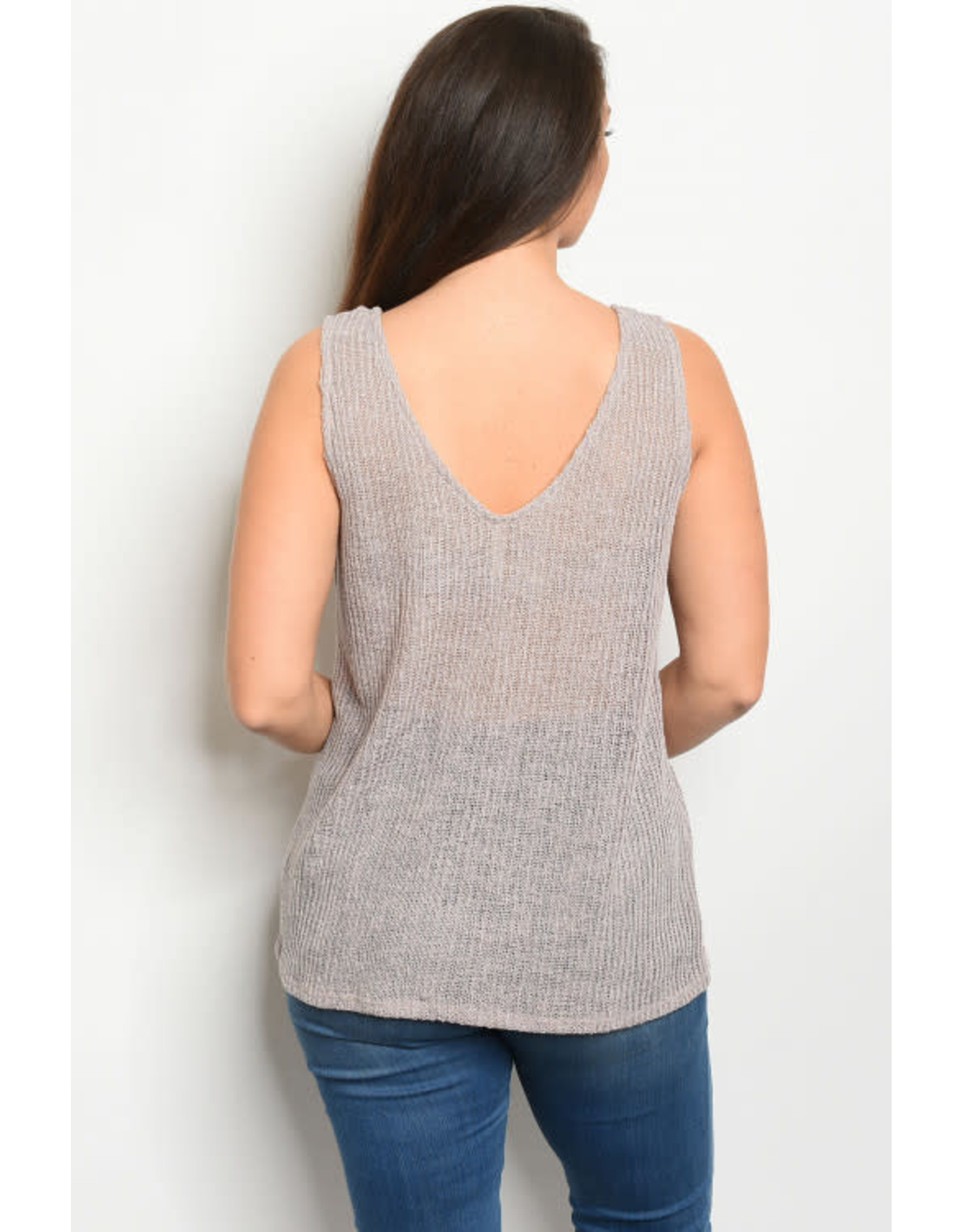 Plus size sleeveless V-neck slub knit tunic tank