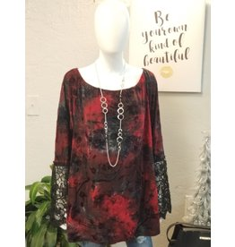 Red and Black Velvet Tunic with Lace Bell Sleeves