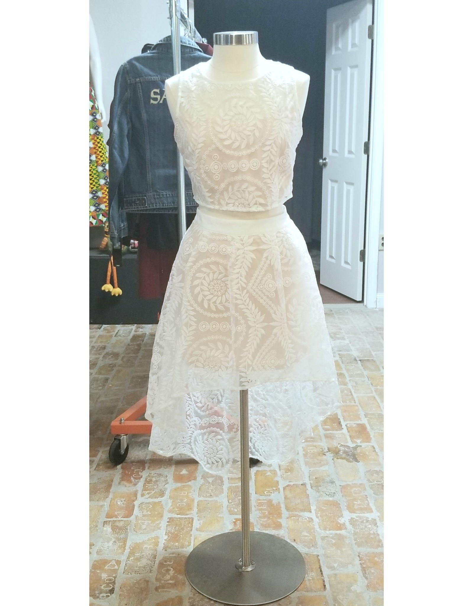 Two Piece Crop Top White Lace Party Dress Large