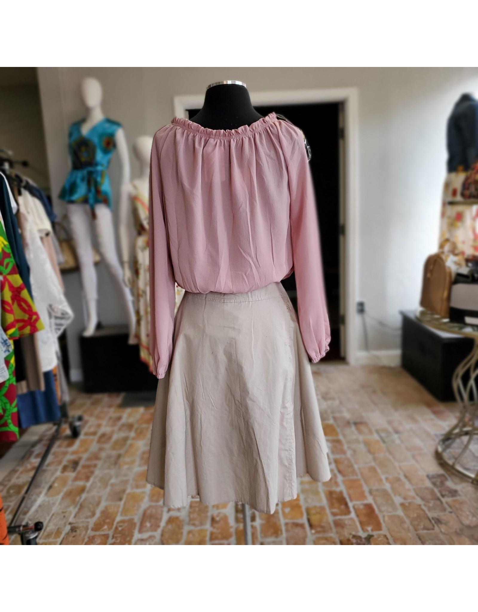 Khaki Beaded Skirt Medium