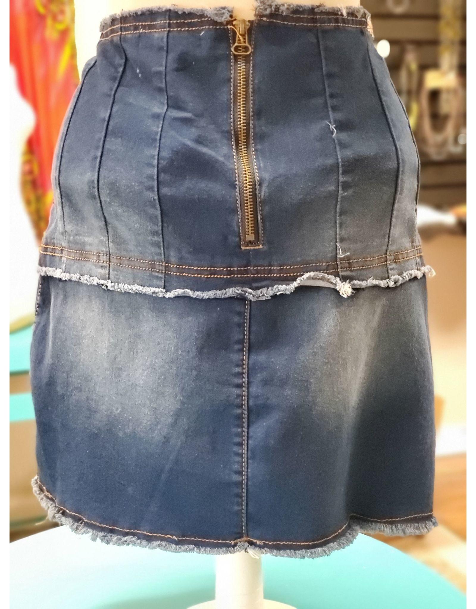 Machine Lace-up Denim Skirt
